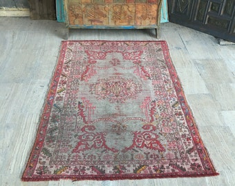 Oushak Rug 3.7x5.3ft *Over 100 Years Old Rug* FREE SHIPPING! Muted Color Rug Distressed Rug Antique Rug Turkish Rug Pink Rug