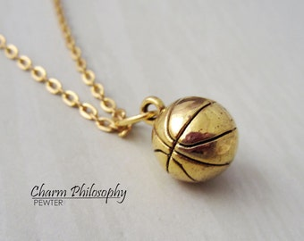 Gold Basketball Necklace - 3D Basketball Pendant - Antique Gold Toned Jewelry