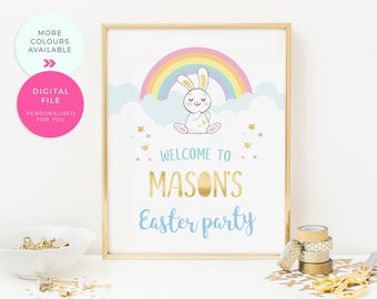 Easter Party welcome sign Printable, Happy Easter sign,  Cute Easter Bunny poster, Easter backdrop, Easter party decorations rabbit rainbow
