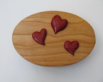 Wood Box, Heart Jewelry Box Jewelry Box Hand Made Box Hand Carved Trinket Box Keepsake Box, Birthday, Anniversary