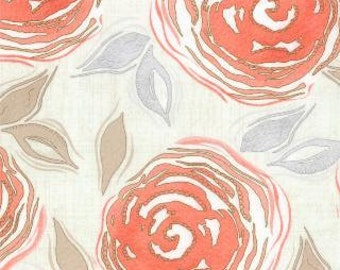 Modern Roses - Floral Ginger Heritage Peach by Stephanie Ryan from Moda