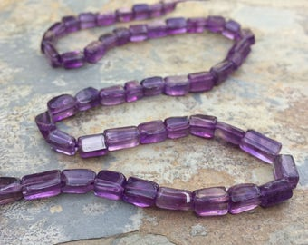 Amethyst Rectangle Beads, Amethyst Brick Beads, 7mm approx. 13 inch strand.