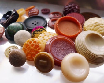 27 Earthy chunky 1960's mod textured buttons  - collection for your crafts!