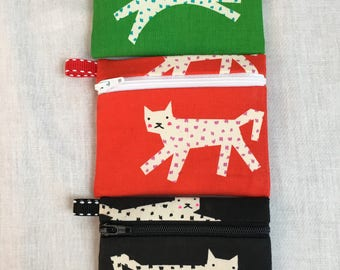 Leopards, Cat Zipper Coin Purse, Credit Card Holder, Earbud Pouch, iPod Holder
