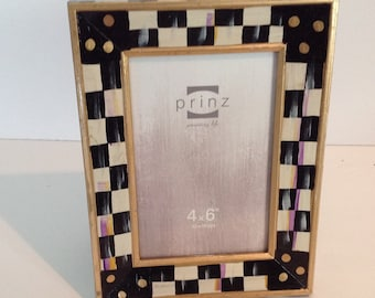 Hand Painted Wood Black / White CHECK 4x6 Picture Frame !!