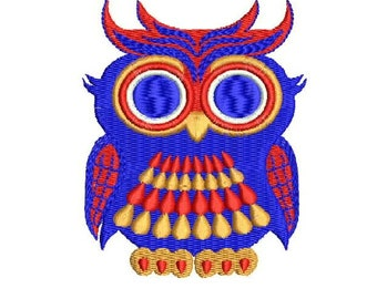 friendly owl Embroidery Design - Instant Download Filled Stitches Embroidery Design 1233