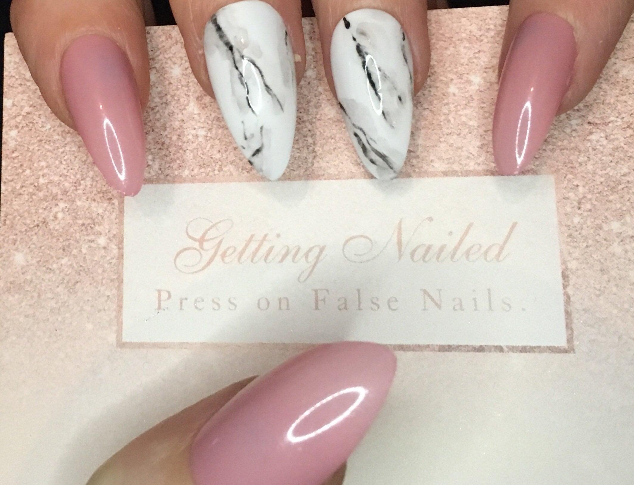 Light Pink nails natural pink nails marble fake nails false