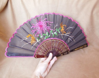 Vintage Folding Fan, Black Lace and Floral Design with Gold Detailing, Hot Pink, Orange, Green, White Embroidery