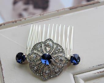 Blue Art Deco Hair Comb , Wedding Hair Comb, Vintage Style Crystal Hair Comb, Art Deco headpiece, Bridal Headpiece