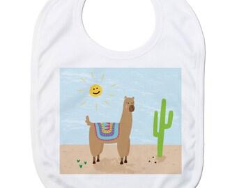 Funny Baby Bibs for Baby Boy Baby Girl Dribble Bib Feeding Bib Alpaca Cactus Baby Gift