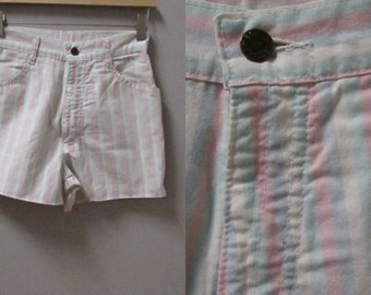 pastel striped high waist vintage 80s 90s short shorts - xs extra small s