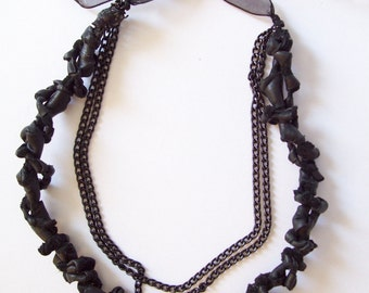 Genuine black leather and chains necklace