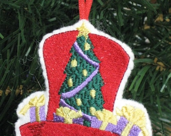 Red Hat Christmas Ornament Tophat