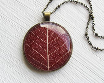 Real Leaf Necklace - Lovely Red Leaf Necklace in Antique Brass - Pressed Flower Jewelry