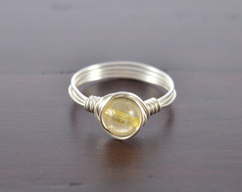 Citrine Ring, Citrine Wire ring, November Birthstone, November Birthday, Boho Ring, Minimal Ring, Personalized Jewelry, Birthday Gift