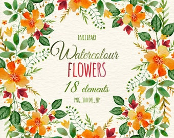 Watercolor Floral Wreaths Corners Borders Clip Art Hand Painted DIY Digital Clipart Yellow Flowers Instant Download PNG Business Use