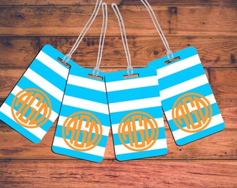 4 Pack Monogrammed Bag Tag Set Family Luggage Tags Personalized Custom Monogram Travel Set Baggage Backpack Diaper Stroller Golf Lunch
