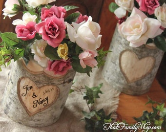 Rustic Wedding Log Flower Pot Vase with Names Date Initials Personalized Wood Bark Hearts