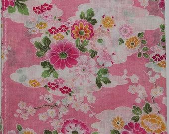 Japanese Cotton Fabric 50cm / Handkerchief - Pink Sakura Cherry Blossom Clouds