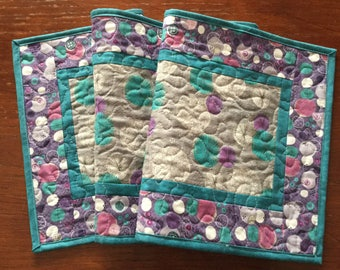 Turquoise Gray Purple Table Runner, Spring Table Runner, Modern Table Runner, Quilted Table Runner