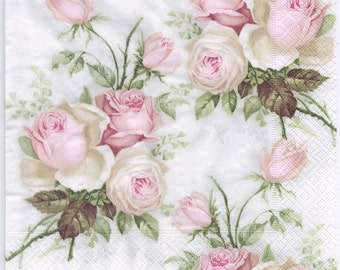 Decoupage Napkins | Pastel Rose Bouquet | Design Dinner Napkins  | Wedding Napkins | Paper Napkins for Decoupage