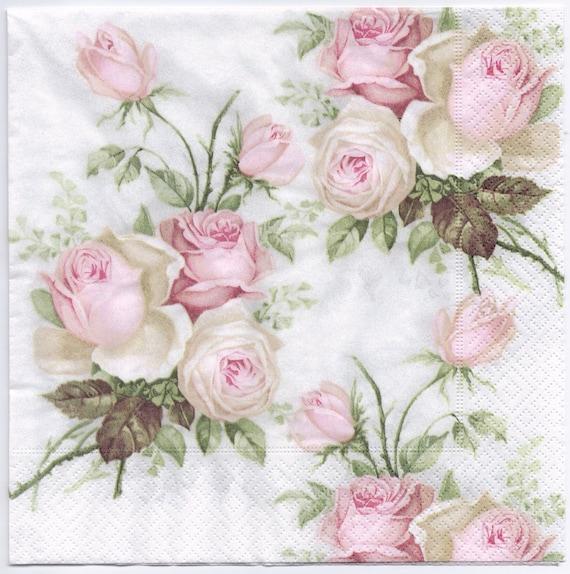 Decoupage Napkins | Pastel Rose Bouquet | Design Dinner Napkins ...