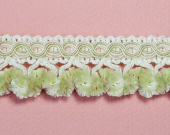 Ribbon, lace, braid tassels, light green, white, pink, 25 mm the meter.