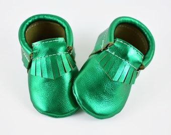 ON SALE! Baby Moccasins Shamrock Metallic Green Saint Patricks Genuine Leather Moccs Newborn Infants Toddler Soft Soled Handmade Shoes