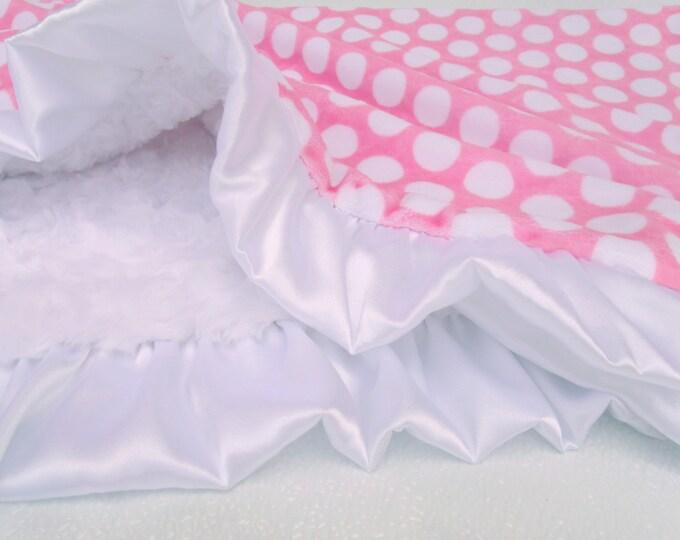 White and Pink Polka Dot Minky Baby Blanket, Pink White Mod Dot Blanket, Pink and White Blanket
