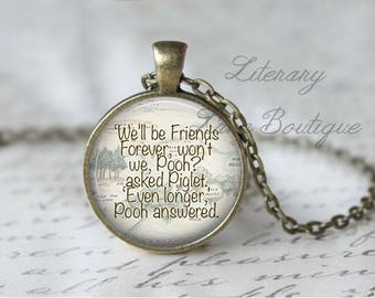 Winnie the Pooh, 'Friends Forever' Hundred Acre Woods Map, Pooh Illustration, A. A. Milne Necklace or Keyring, Keychain.