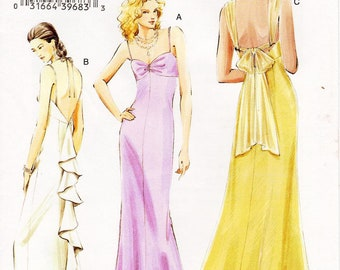 Sz 6/8/10 - Vogue Dress Pattern V8075 - Misses' Backless, Sleeveless Evening Dress in Three Variations with Optional Train - Vogue Patterns