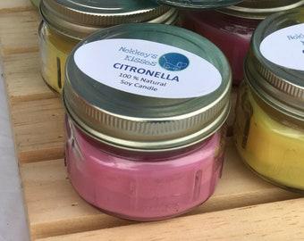 3.5 oz citronella square mason jar soy candle.