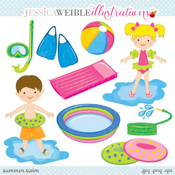 Summer Swim Cute Digital Clipart