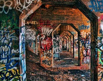 Graffiti Print, Urban Decor, Archways, Graffiti Art, Abandoned, Urban Decay, Colorful, Warm Colors, Blue, Red, Brown, Home Decor