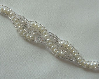 Bridal Accessories, Pearl And Crystal Applique ,Wedding Applique, Rhinestone Applique, sash applique Model:DSCN2315