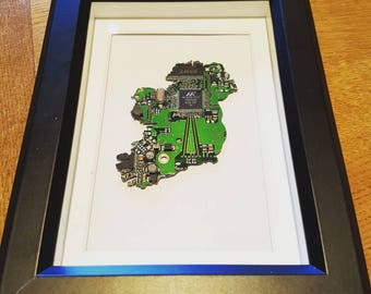 Recycled vintage circuit board map picture of Ireland -framed