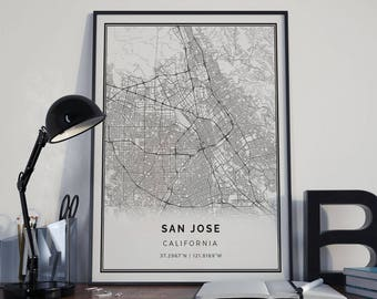 San Jose map poster print wall art | California gift printable download | Modern map decor for office, home and nursery | MP10