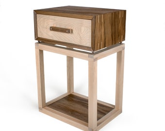 Walnut and Maple Bedside Table / Side Table
