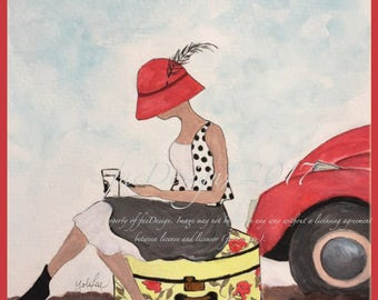 Flat Tire, Watercolor Fashion Illustration