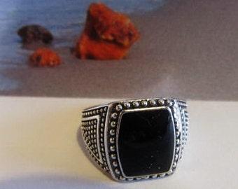 Black Stone Ring color 4.0 gr. Onyx silver color square shape gift  for punk, adult women men