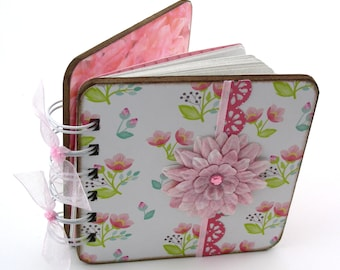 Sweet Petunias Mini Blank Book, doodle - sketch - collage - write