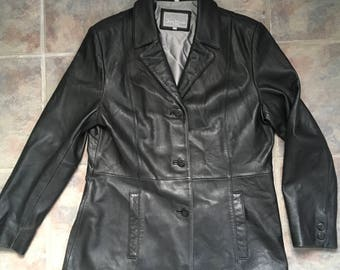 Vintage Black Leather Jacket Women's Black Leather Coat Size XL