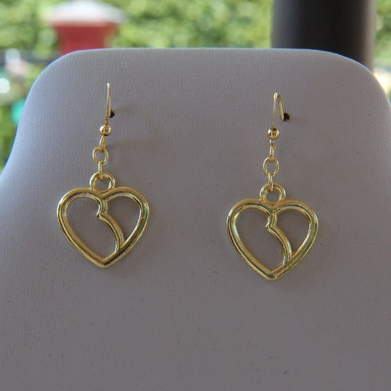 Kidney-Heart Earrings - gold-plated charms
