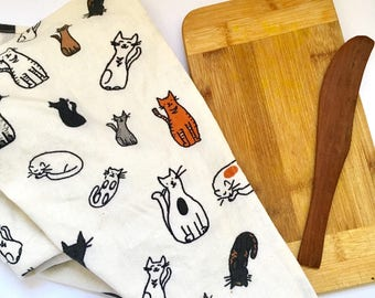 Cats! ~ Cat Tea Towel ~ Home and Living ~ Kitchen and Dining ~ Dishcloths & Kitchen Towels ~ Tea Towel ~ Hostess Gift ~ Hemp