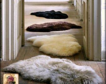 Plush Faux Fur Area Rug - Luxury Fur Thick Shaggy Single Pelt Sheepskin Shape - Designer Throw Rug - Fur Accents USA