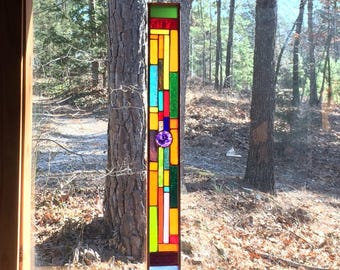 Vibrant stained glass panel gift glass art suncatcher home decor art glass stained glass window