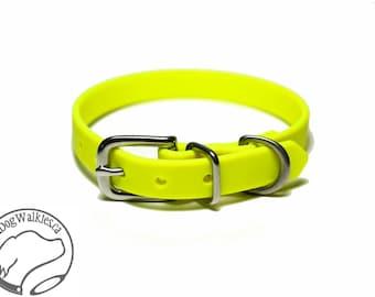 "Neon Sunny Yellow Little Dog Collar - 1/2"" (12mm) Thin Biothane Dog Collars - Waterproof Small Dog Collar"