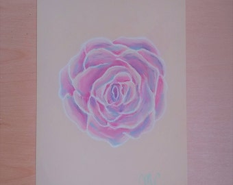 Rose pastel drawing, flower pastel drawing, flower drawing, wall art, home decor