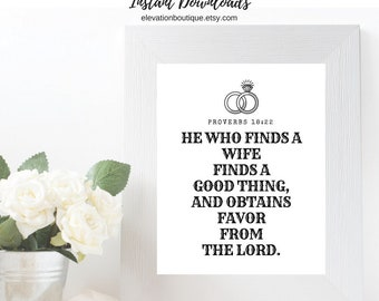 Printable Digital Art Instant Download CHARITY Proverbs18 22 He Who Finds Wife Good Thing Favor Lord Wedding Engagement Ring Scrapbook Gift