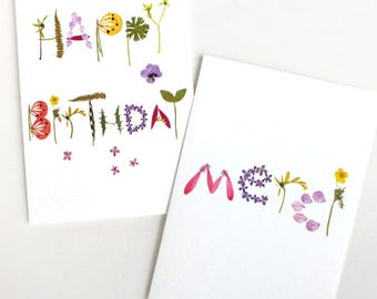 Merci Happy Birthday herbarium flower card, Pressed flower card, Thank you flower, Birthday flower, Flower stationery, Eco friendly card